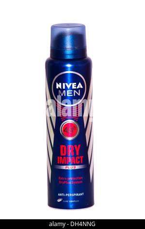 Aerosol Can Of Nivea Men Dry Impact Anti Persperant - Stock Photo