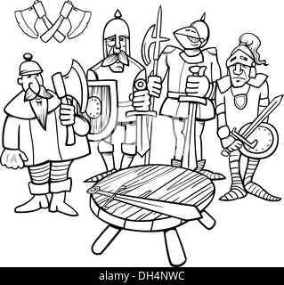 Black And White Cartoon Illustration Of Legendary Knights The Round Table For Coloring Book