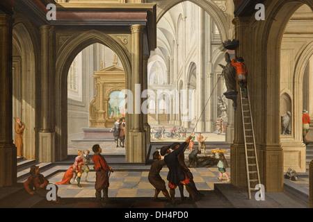 Netherlands, Amsterdam, Rijksmuseum. Beeldenstorm in een kerk, Iconoclasm in a church. Dirck van Delen, 1630 - Stock Photo