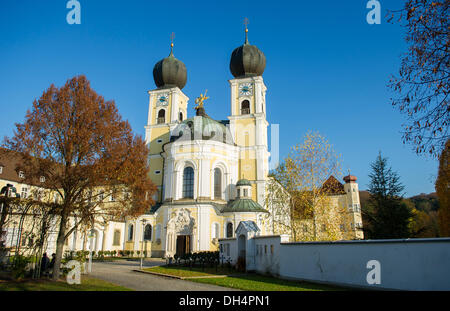 The sun shines onto the cloister in Metten, Germany, 31 October 2013. The controversial bishop Tebartz-van Elst - Stock Photo