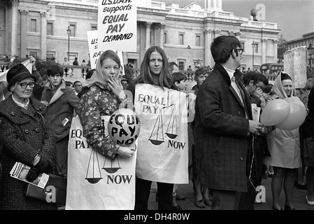 Womens Rights. Trade Union Demonstration for  Equal Pay for Women. USDAW Rally Trafalgar Square London England 1968. - Stock Photo