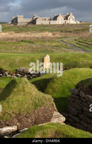Islands of Orkney, Scotland. Picturesque view of the Neolithic settlement at Skara Brae. - Stock Photo