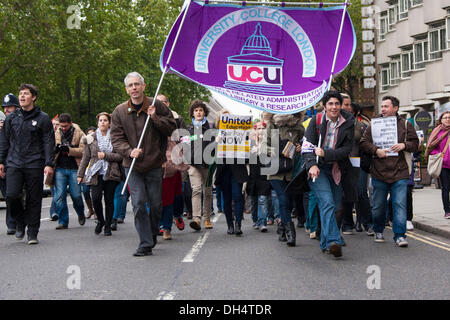 London, UK. 31st October 2013. Protesters march to Red Lion Square in Holborn as students, Unison, Unite and UCU - Stock Photo
