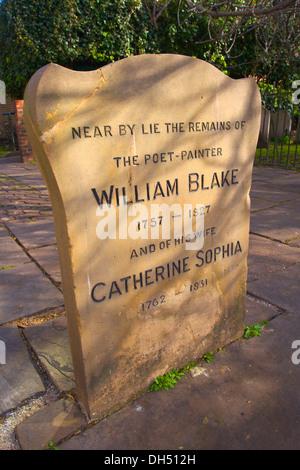 William Blake Gravestone, Bunhill Fields, London, England - Stock Photo