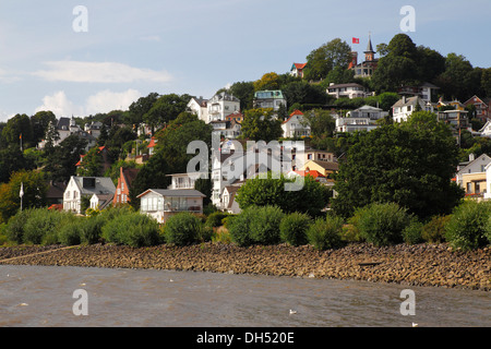 Suellberg hill with restaurant and observation tower at the top, Hamburg's Blankenese quarter on the Elbe river, - Stock Photo