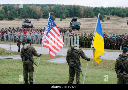 Paratroopers from the 173rd Infantry Brigade Combat Team (Airborne) stand in formation with partner nations at a - Stock Photo