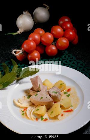 Tuna stew, braised tuna - Stock Photo