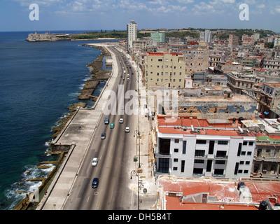 Panoramic view, Malecon corniche, Vedado district, Havana, Cuba, Greater Antilles, Caribbean - Stock Photo