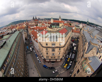 Panoramic view from the Power Tower, Prague Czech Republic, Eastern Europe - Stock Photo
