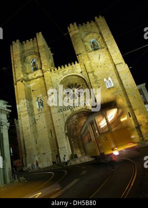 Lisbon Cathedral, Se de Lisboa, and tram line 28, Lisbon, Portugal, Europe - Stock Photo