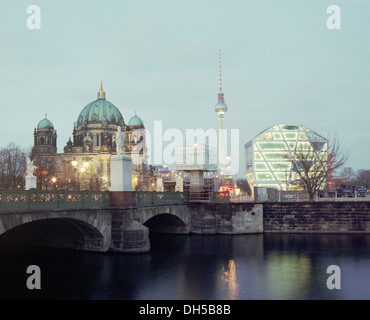 Berlin Cathedral, Humboldt Box, Berlin Fernsehturm, television tower, Mitte, Berlin, Berlin, Germany - Stock Photo