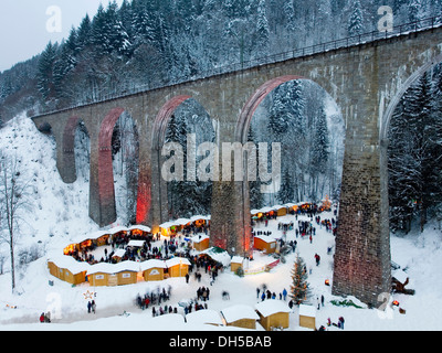 Christmas market, Ravenna Bridge, Ravenna Gorge, Ravenna gorge, Schwarzwald, Black Forest, Baden-Württemberg, Germany - Stock Photo