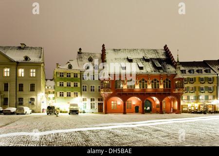 Muensterplatz square in winter, Freiburg, Freiburg im Breisgau, Baden-Württemberg, Germany - Stock Photo
