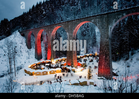 Christmas market, Ravenna Bridge, Ravenna Gorge, Ravenna gorge, Schwarzwald, Black Forest, Baden-Württemberg, Germany - Stock Photo