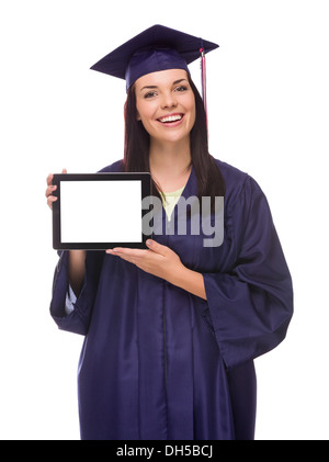 Hispanic female in cap and gown during her community college Stock ...