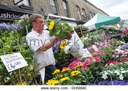 Street trader selling flowers at Columbia Road Flower Market, London, England, UK - Stock Photo