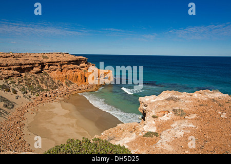 Coastal landscape, cliffs and beach in secluded bay from Needle Eye lookout near Venus Bay on Eyre Peninsula South Australia