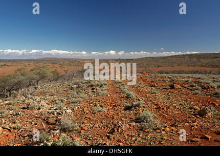 Stunning view of vast outback landscape with red road leading across stony arid plains from hill to distant horizon - Stock Photo