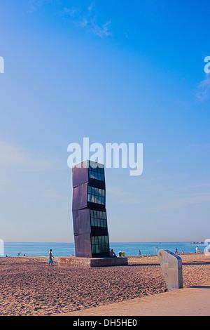 Europe, Spain, Barcelona, Rebecca Horn, beach, sculpture, beach, - Stock Photo