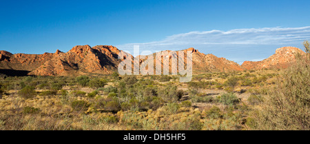 Panoramic Australian outback landscape of Gosse Bluff - remains of meteorite crater, West MacDonnell Ranges Northern - Stock Photo