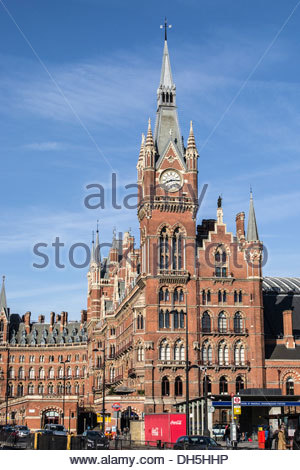 St Pancras Station, London on a spring morning against a blue sky - Stock Photo