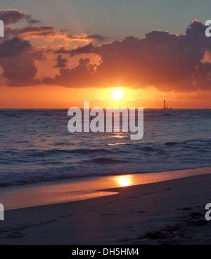 carribean sundown scenery on a beach at the Dominican Republic - Stock Photo