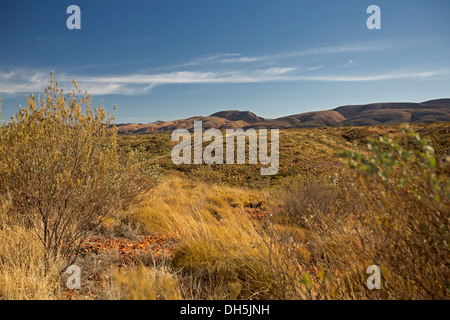 View of vast outback landscape in West MacDonnell Ranges from lookout near Alice Springs in Northern Territory Australia - Stock Photo