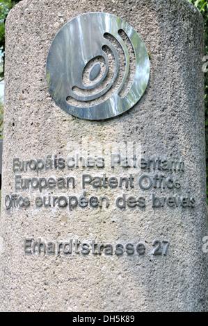 Pillar at the east entrance, European Patent Office, Munich, Bavaria