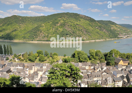 View from Burg Stahleck Castle in Bacharach over the Rhine River, Rhineland-Palatinate, UNESCO World Heritage Site - Stock Photo