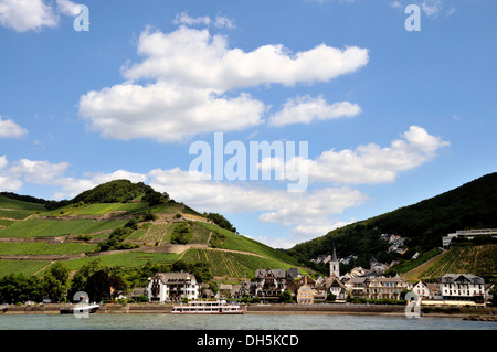 Assmannshausen, UNESCO World Heritage Cultural Landscape of the Upper Middle Rhine Valley, Hesse - Stock Photo