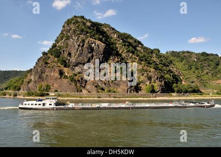 Lorelei rock above the Rhine river, Upper Middle Rhine Valley UNESCO World Heritage, Sankt Goarshausen, Rhineland - Stock Photo