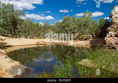 Picturesque outback landscape / blue pool of water and oasis at Ormiston Gorge in West MacDonnell ranges near Alice - Stock Photo
