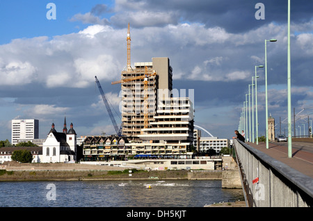 The Lufthansa high-rise building, seat of the German airline until 2007, on the bank of the Rhine River at Deutz, - Stock Photo