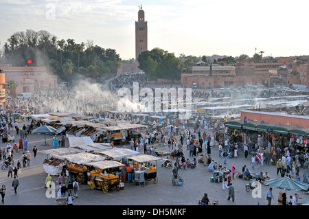 Stalls on Djemaa el-Fna square, 'charlatan's square' or 'square of the hanged', Marrakech, Morocco, Africa, PublicGround - Stock Photo
