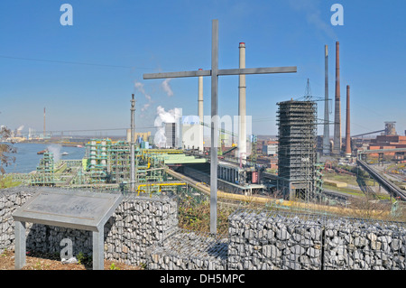 View from Alsumer Berg, vantage point on Route der Industriekultur, route of industrial culture, ThyssenKrupp Steel - Stock Photo