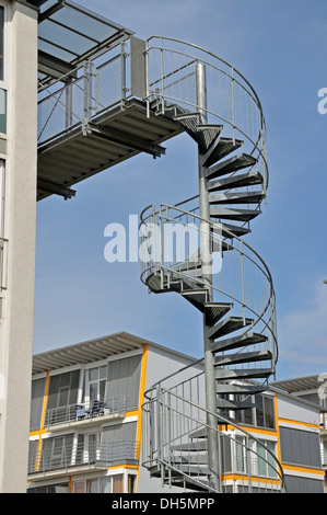 modern building with exterior fire escape stairs stock