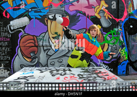 A twelve-year-old boy playing table tennis, football area, Cologne, North Rhine-Westphalia, PublicGround - Stock Photo