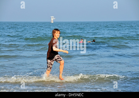 Boy, 11 years, on the beach of Hua Hin, Thailand, Asia, PublicGround - Stock Photo