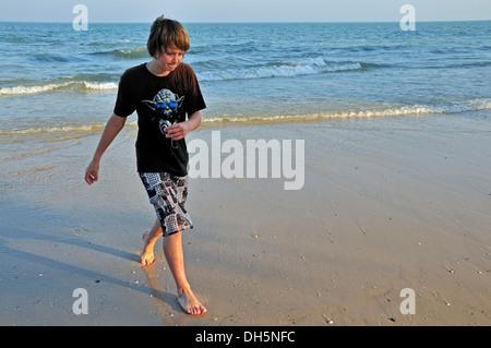 Boy, 11 years, on the beach of Hua Hin, Thailand, Asia, PublicGround - Stock Photo