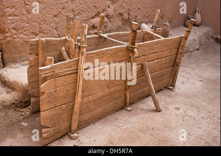 Traditional timber formwork for mud brick or adobe buildings, mud brick fortress, kasbah, southern Morocco, Morocco, - Stock Photo
