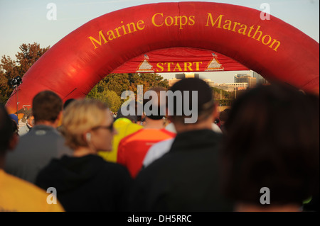 Participants wait for the 38th annual Marine Corps Marathon to start on Oct. 27, 2013 in Arlington, Va and runs - Stock Photo