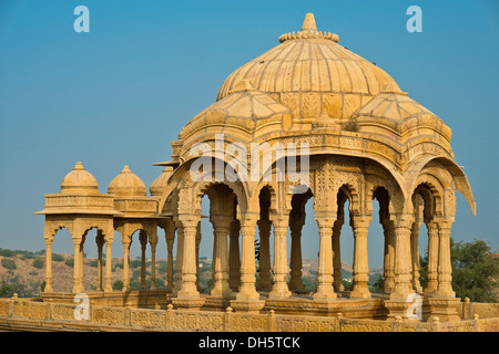 Cenotaph, old burial site of the rulers of Jaisalmer, Bada Bagh, Jaisalmer, Rajasthan, India - Stock Photo