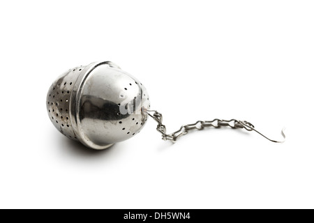 metal tea strainer on white background - Stock Photo