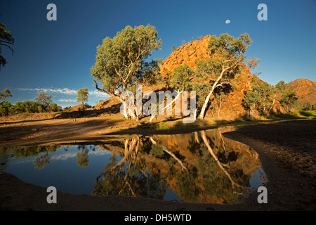 Australian outback landscape with ghost gums and rocks reflected in calm water of Ross River at dawn with full moon - Stock Photo