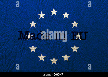 Made in EU text on flag - Stock Photo
