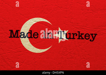Made in Turkey text on flag - Stock Photo