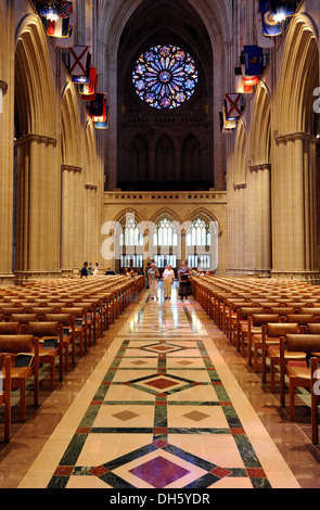 Nave and west portal, Washington National Cathedral or Cathedral Church of Saint Peter and Saint Paul in the diocese - Stock Photo