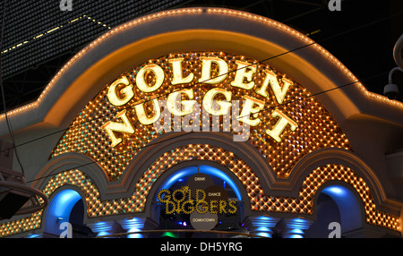 Neon logo of the Golden Nugget Gambling Hotel and Casino, Fremont Street Experience in old Las Vegas, Downtown Las - Stock Photo