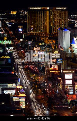 The Strip at night, The Cosmopolitan luxury hotel, New York New York, Mandalay Bay, Excalibur, Las Vegas, Nevada - Stock Photo