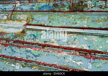 Pattern on a Upturned boat - Stock Photo